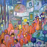 Erika Wagner: Das Fest, Öl auf Leinwand, 80 x 80 cm, 2014