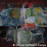 "Christa Hoffmann-Kamps: ""Auf rotem Grund"", Acryl auf Leinwand, 100 x 100 cm, 2013"
