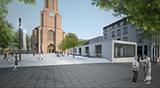 Der neue Kirchenpavillon am Kaiserplatz: Wenn alles weiterhin so gut läuft, könnte es ab Advent vor der Kreuzkirche etwa so aussehen (Modell: Kastner-Pichler)