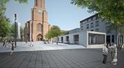 Hier es noch ein Modell, doch ab Dezember Wirklichkeit im Zentrum unserer Stadt: der neue Kirchenpavillon (Foto: Kastner & Pichler)