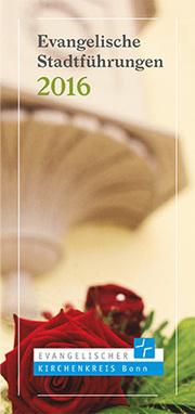 Der Flyer für die evangelischen Stadtführungen im Jubiläumsjahr 2016 mit der Kanzel der Schlosskirche