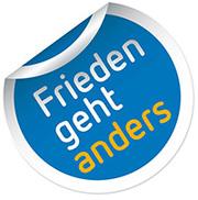 """Ein """"Friedens-Posted"""" ist das Logo der Ausstellung in Bonn"""